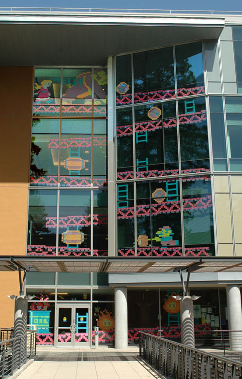 Four story tall Donkey Kong game, all out of Post-it notes!