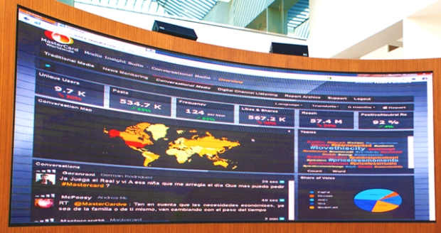 Mastercard HQ social media conversation monitors - very cool.