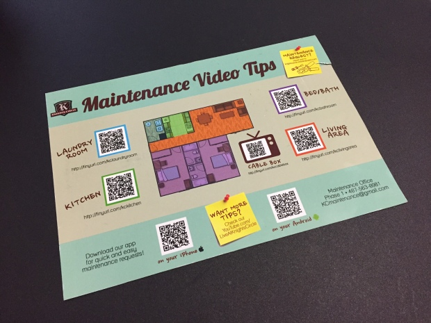 Knight Circle's new magnetic QR code/short URL sheet for fast video maintenance tips.